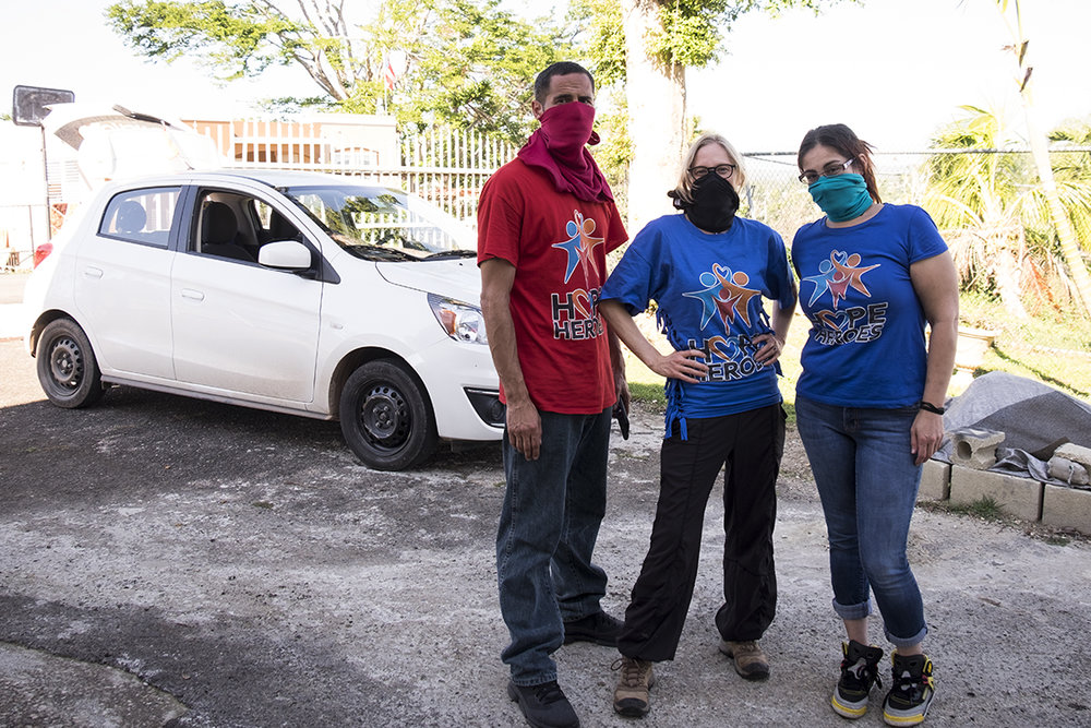 The Hopes Heroes team (Left to right: Eddie, me, and Maria) attempting to protect ourselves from breathing in mold.
