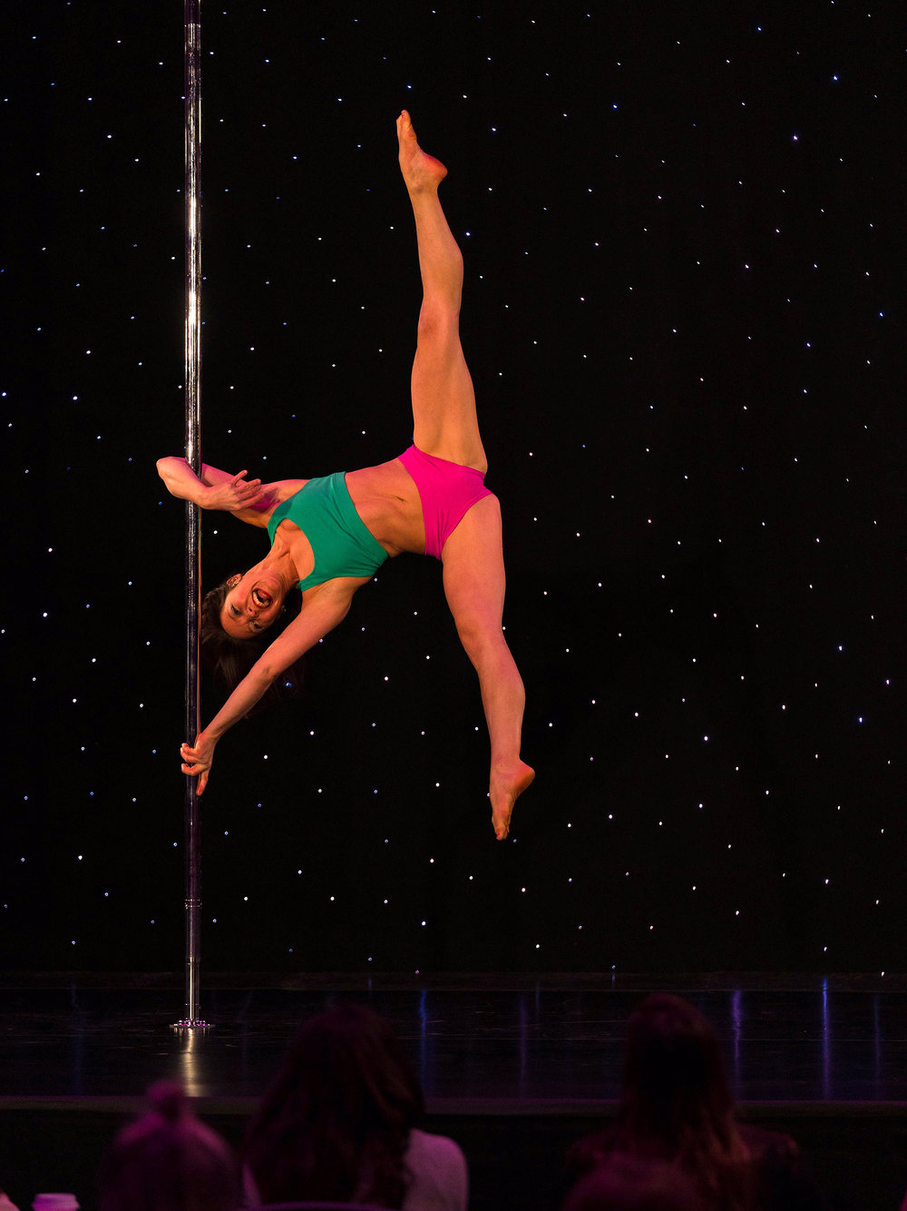 Jennifer, age 33, competing in pole fitness for the first time at the Arnold Sports Festival.