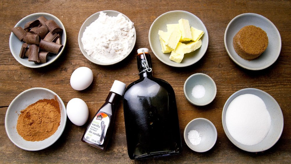 All the ingredients for a great chocolate brownie recipe.