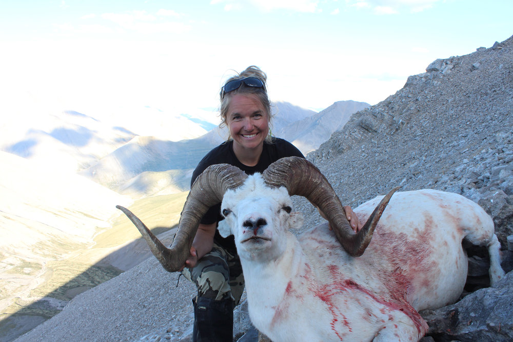 Rebecca Schmitz and her first ram- 42%22! Guide Kelly Robertson. July 2017.JPG