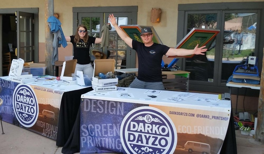 Joanna + Carlos at a live screen printing event to benefit the Santa Fe Animal Humane Society, August 2017