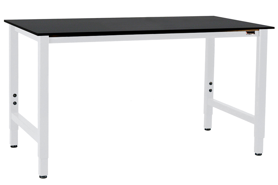 LS - METAL FLEX LAB TABLE -  Standard White Frame // Black Phenolic Resin Top
