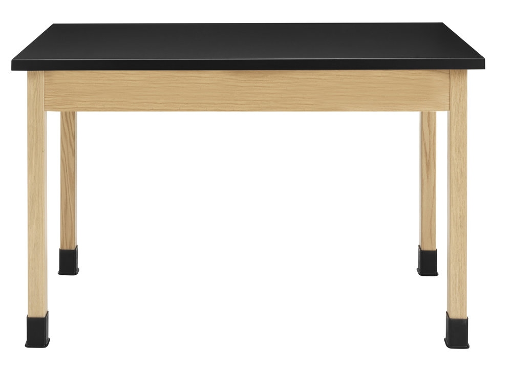 LS - WOOD-LEGGED LAB TABLE -  Natural Oak Frame // Black Epoxy Resin Top