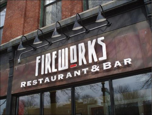 Fireworks sign on the front of the restaurant
