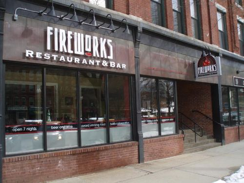 Fireworks horizontal sign on the front of the restaurant.