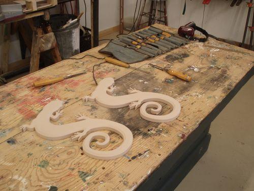 Hand carved salamanders