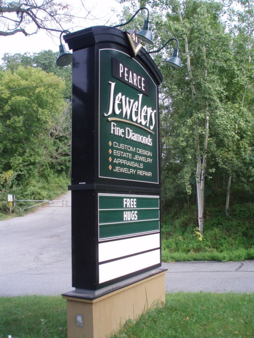 Pearce Jewelers sign installed & standing