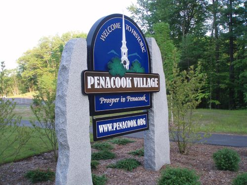 Penacook Village sign with granite posts