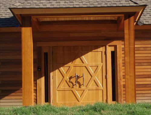 Carved white oak doors for Congregation Ahavas Achim