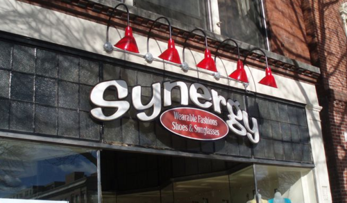Synergy sign, in Northampton Mass
