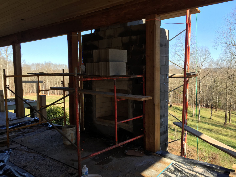 Lake Hartwell Renovation - Exterior Stone Fireplace Addition