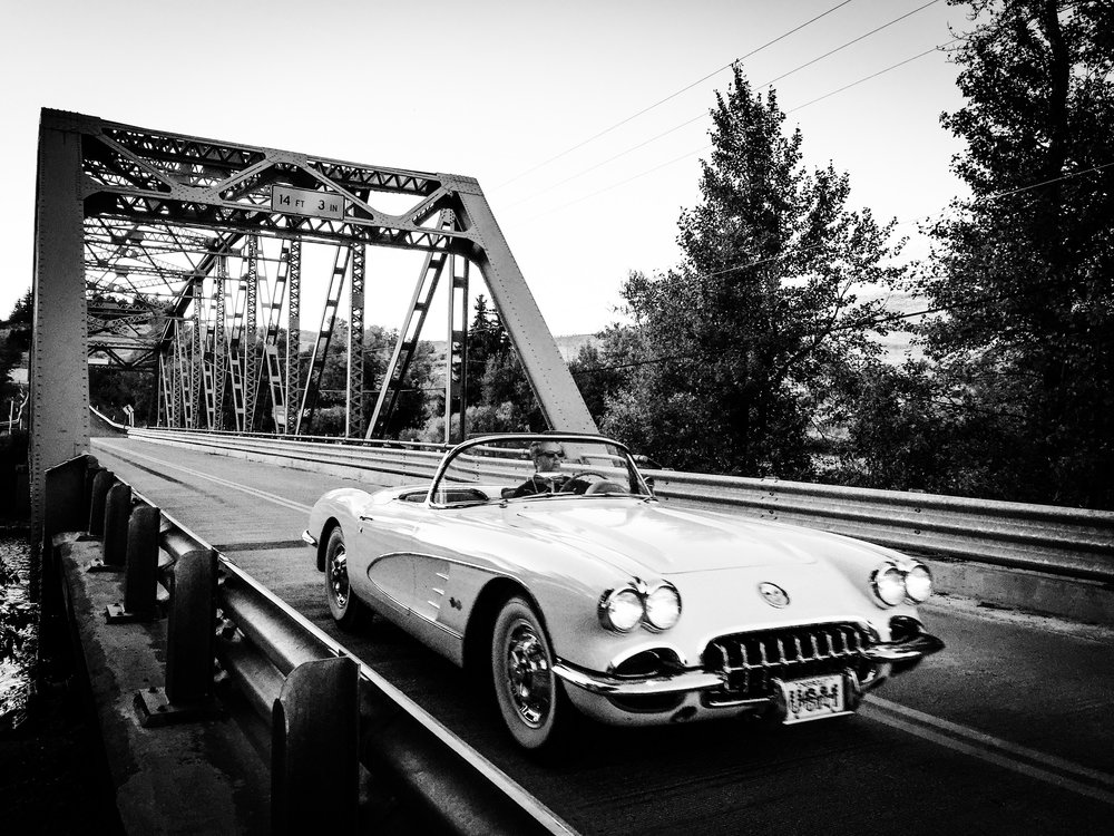 Mark Driving Corvette Across bridge.JPG
