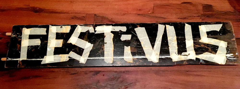 My first Festivus decoration.  This sign is made from broken furniture and masking tape — top that bitches!  ***Also, credit must be given to the Bruce brothers, though I think Ryan was the sole creator > check him out, he makes awesome stuffs professionally:    website    /    instagram