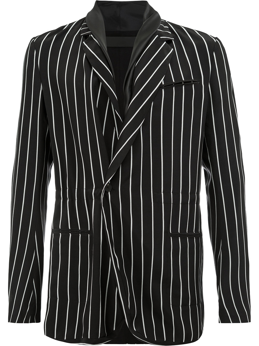 Haider Ackermann   Black and White Striped Blazer With Soft Lapel