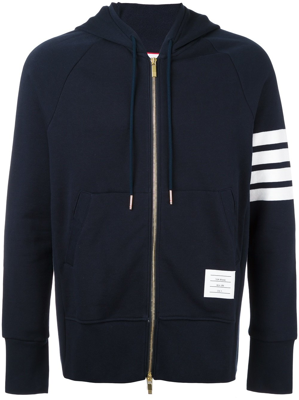 Thom Browne   Engineered Navy Four Bar Stripe Zip Up