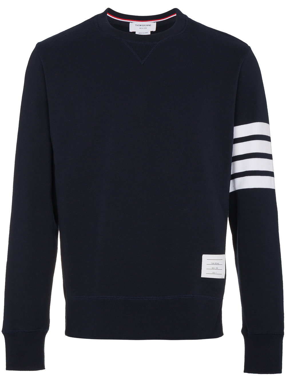 Thom Browne   Engineered Navy Four Bar Stripe Crewneck