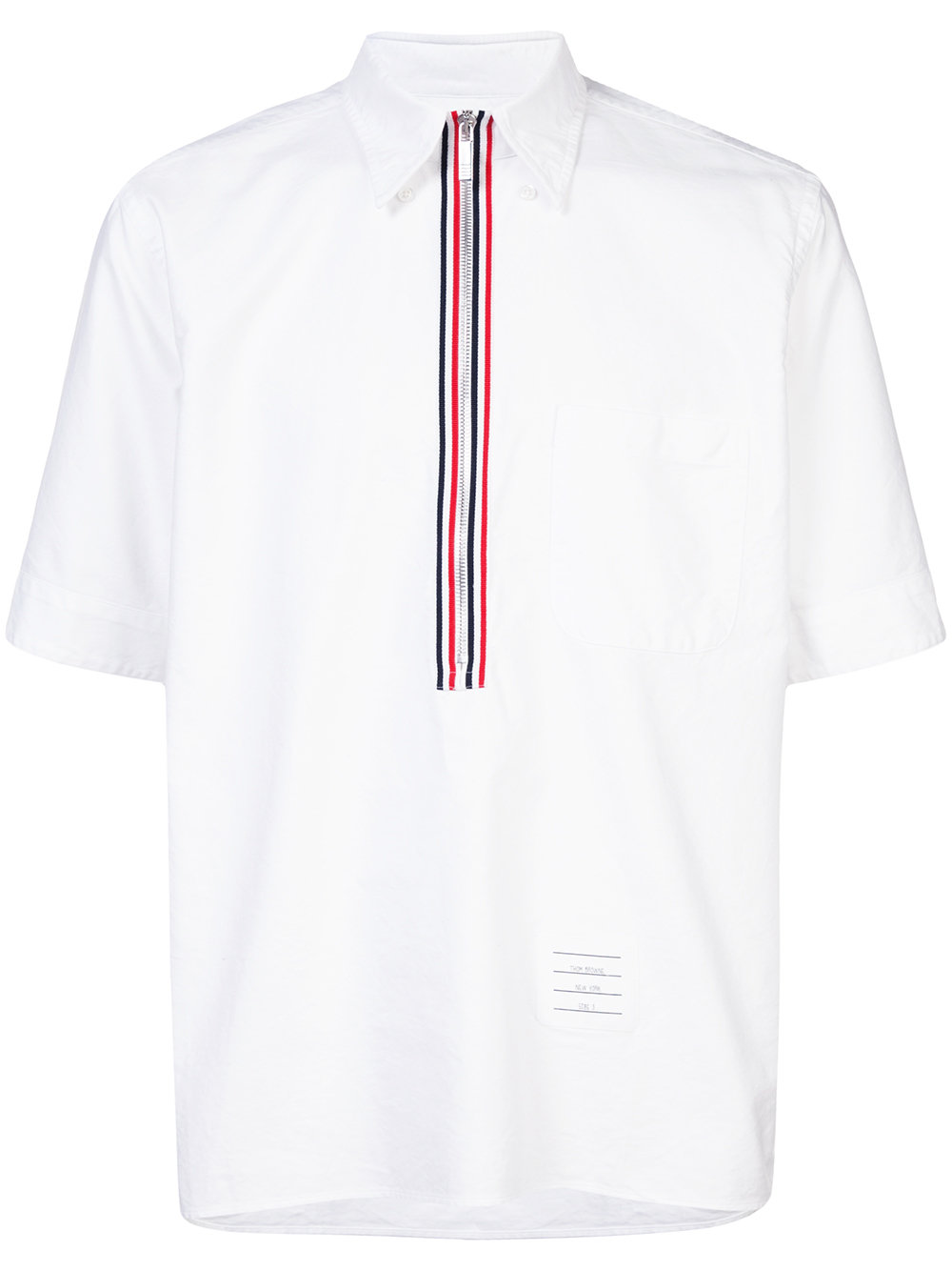 Thom Browne   Stripe Zipper Placket Short Sleeve