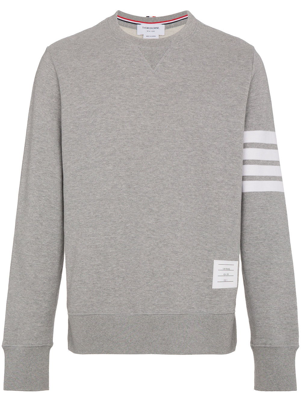 Thom Browne   Engineered Grey Four Bar Stripe Crewneck