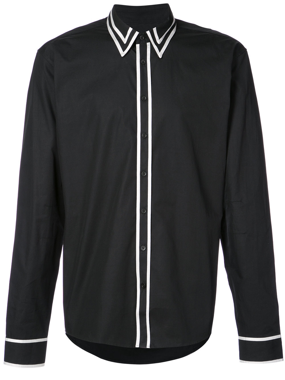 Balmain   Black Contrast Trim Button Down