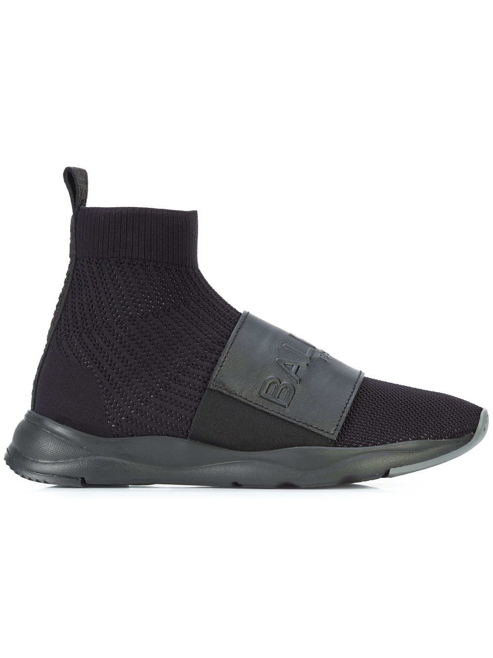 Balmain   Logo Strap Sock Boot Trainer