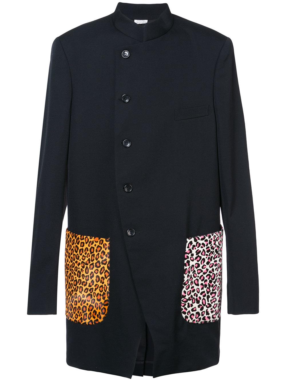 Comme des Ga  rçons Homme Plus   Contrasting Leopard Print Coat