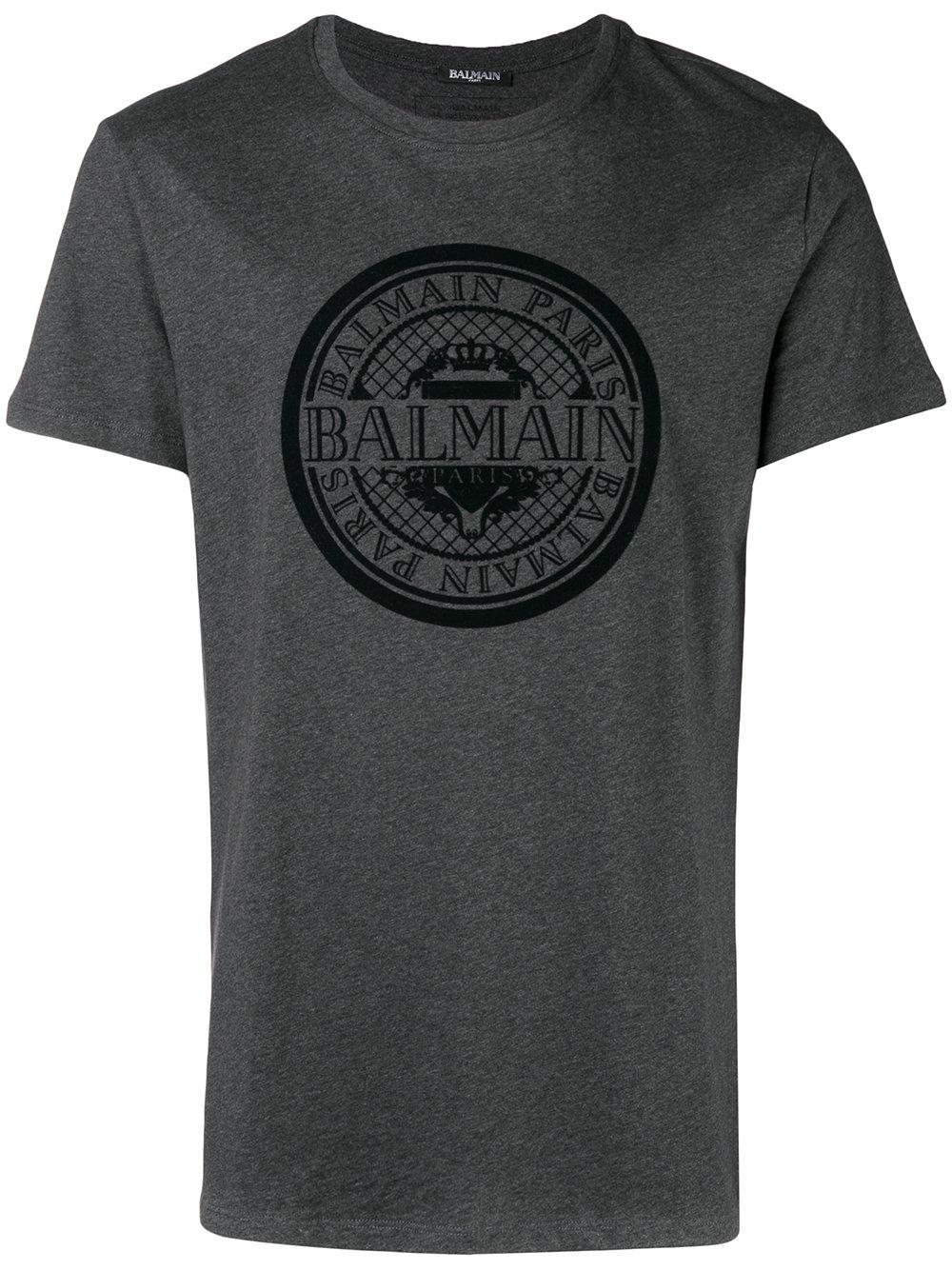 Balmain   Grey Short Sleeve Logo Tee