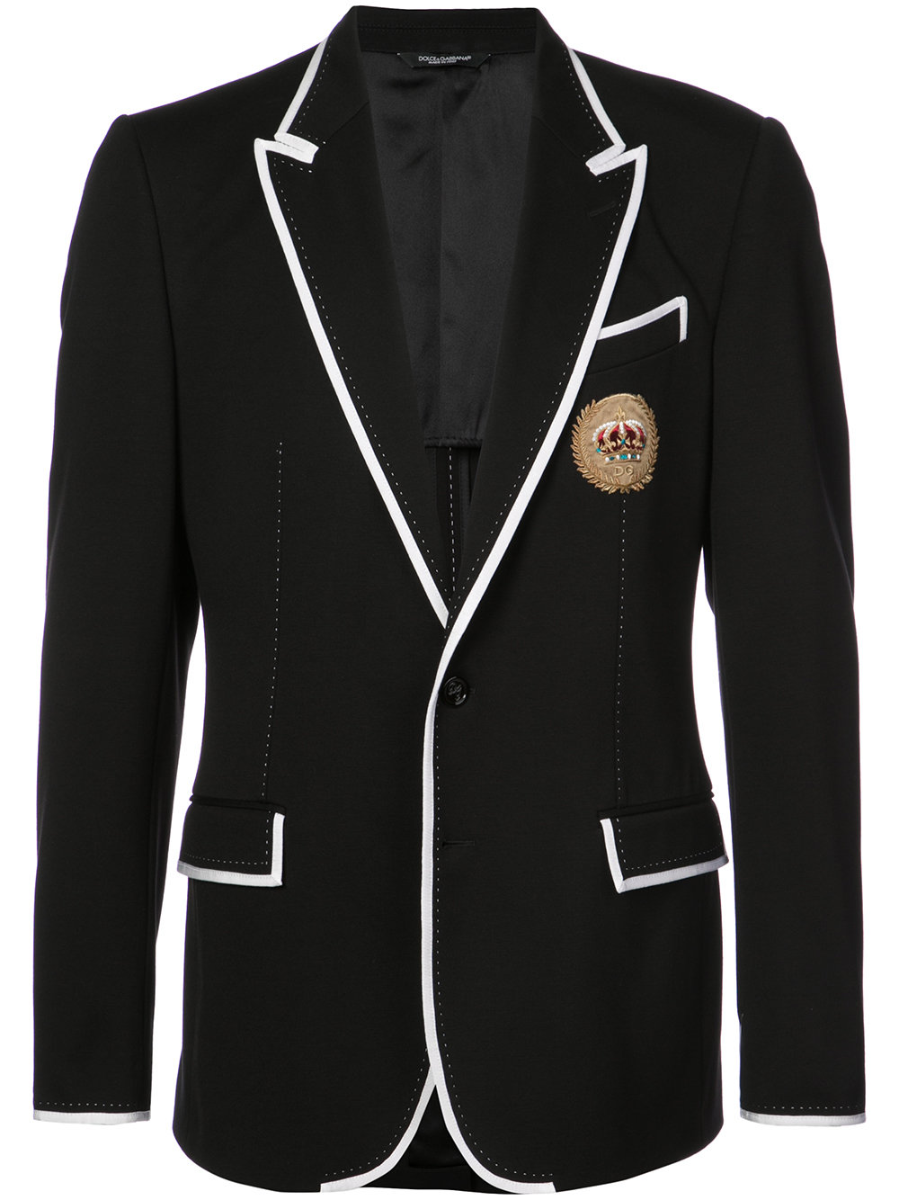 Dolce & Gabbana   Black Blazer With Contrasting Piping