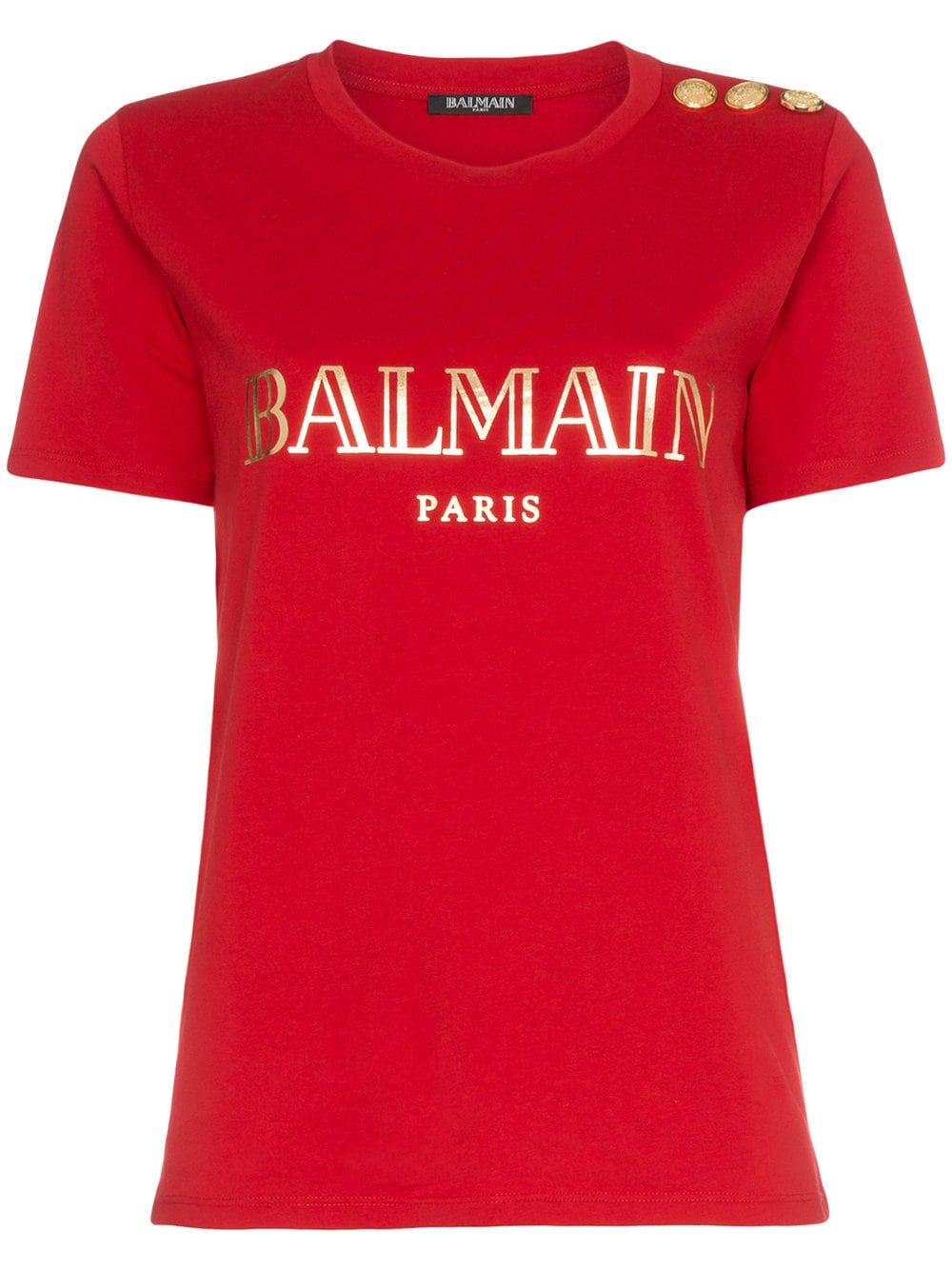 Balmain   Red Logo Tee