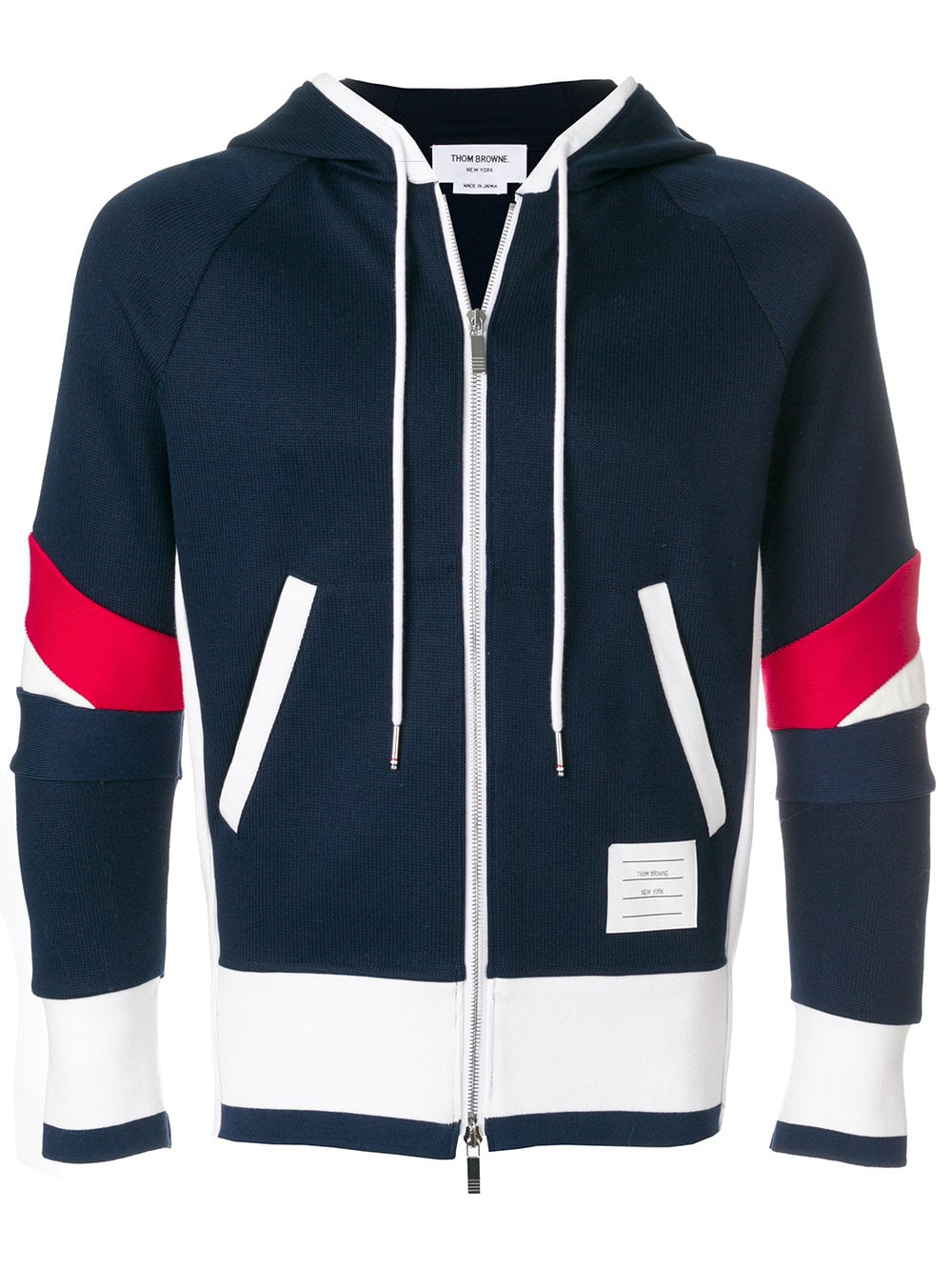 Thom Browne   Navy Zip Up Hoodie