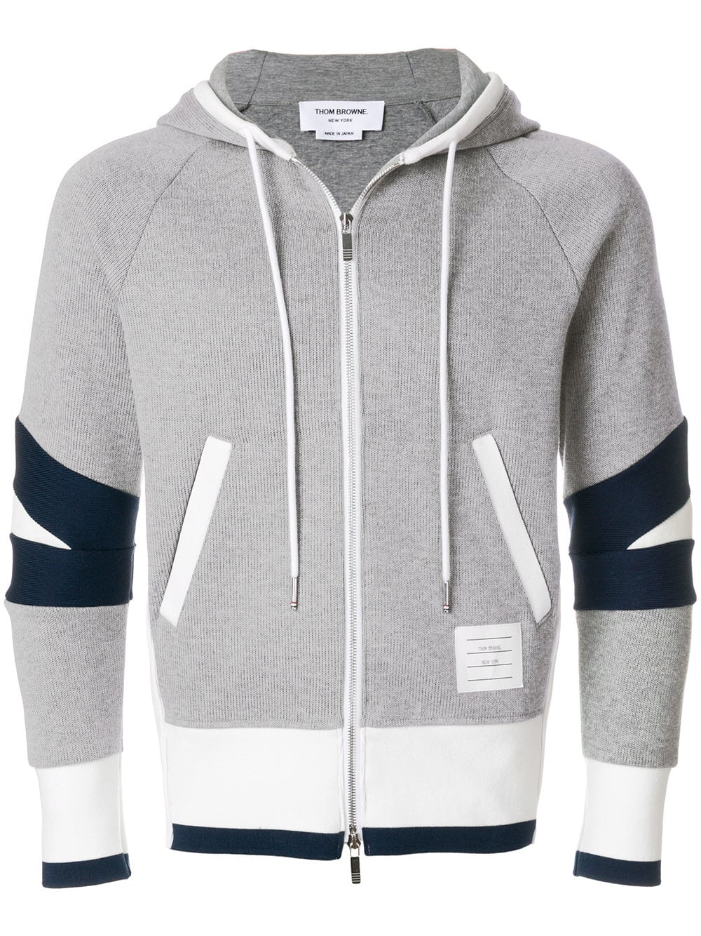 Thom Browne   Grey Zip Up Hoodie