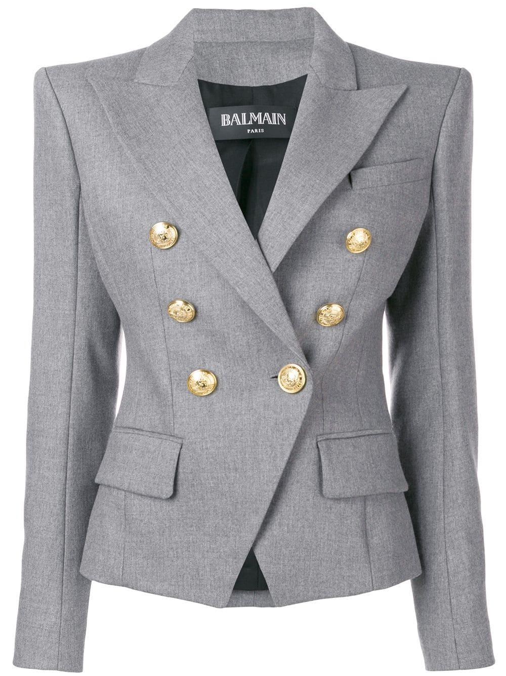 Balmain   Grey Wool Blazer