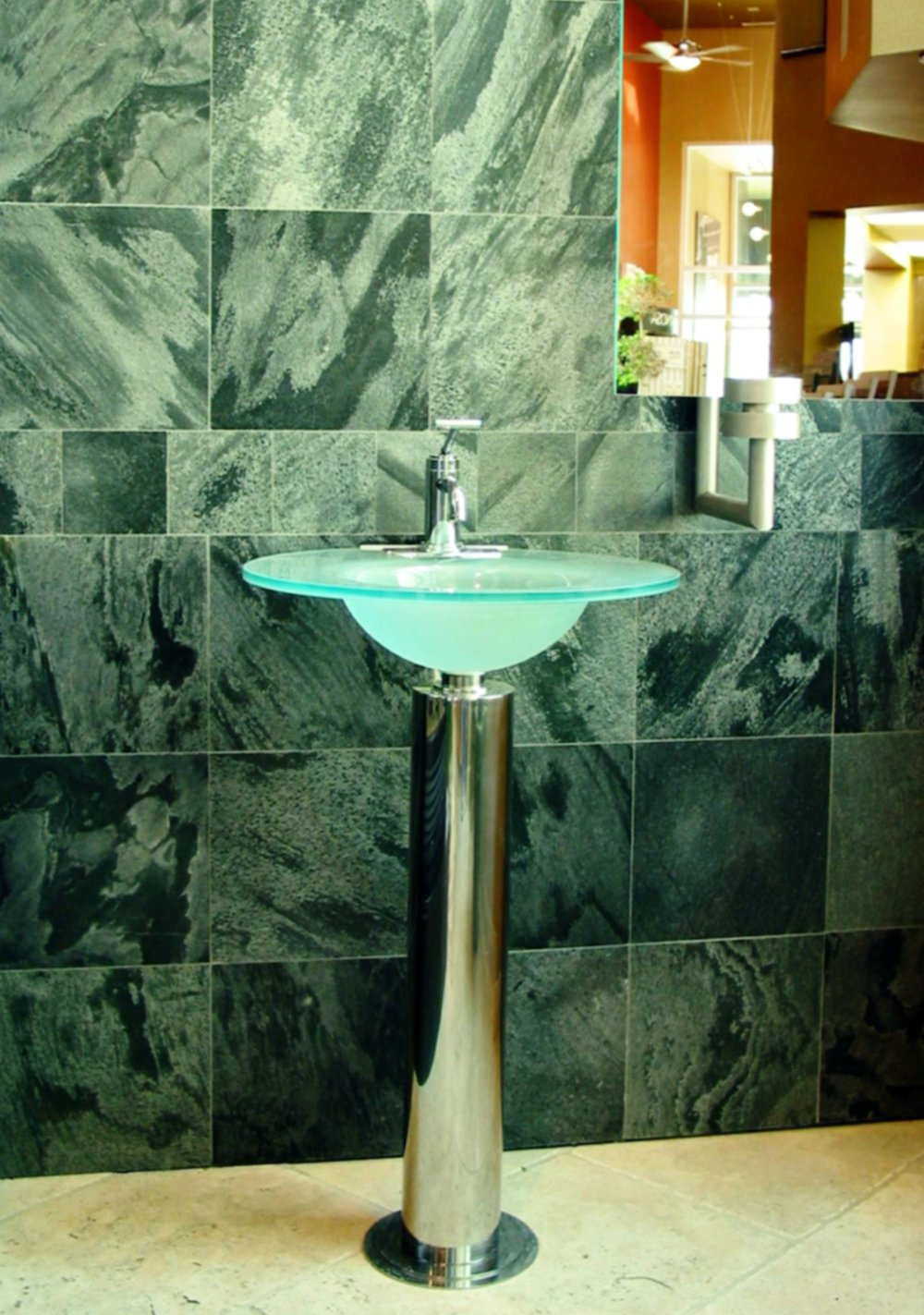 Slate wall glass bathroom sink ideas inspiration.JPG