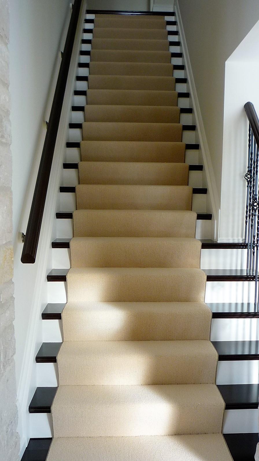 Living area hardwood staircase carpet runner.jpg