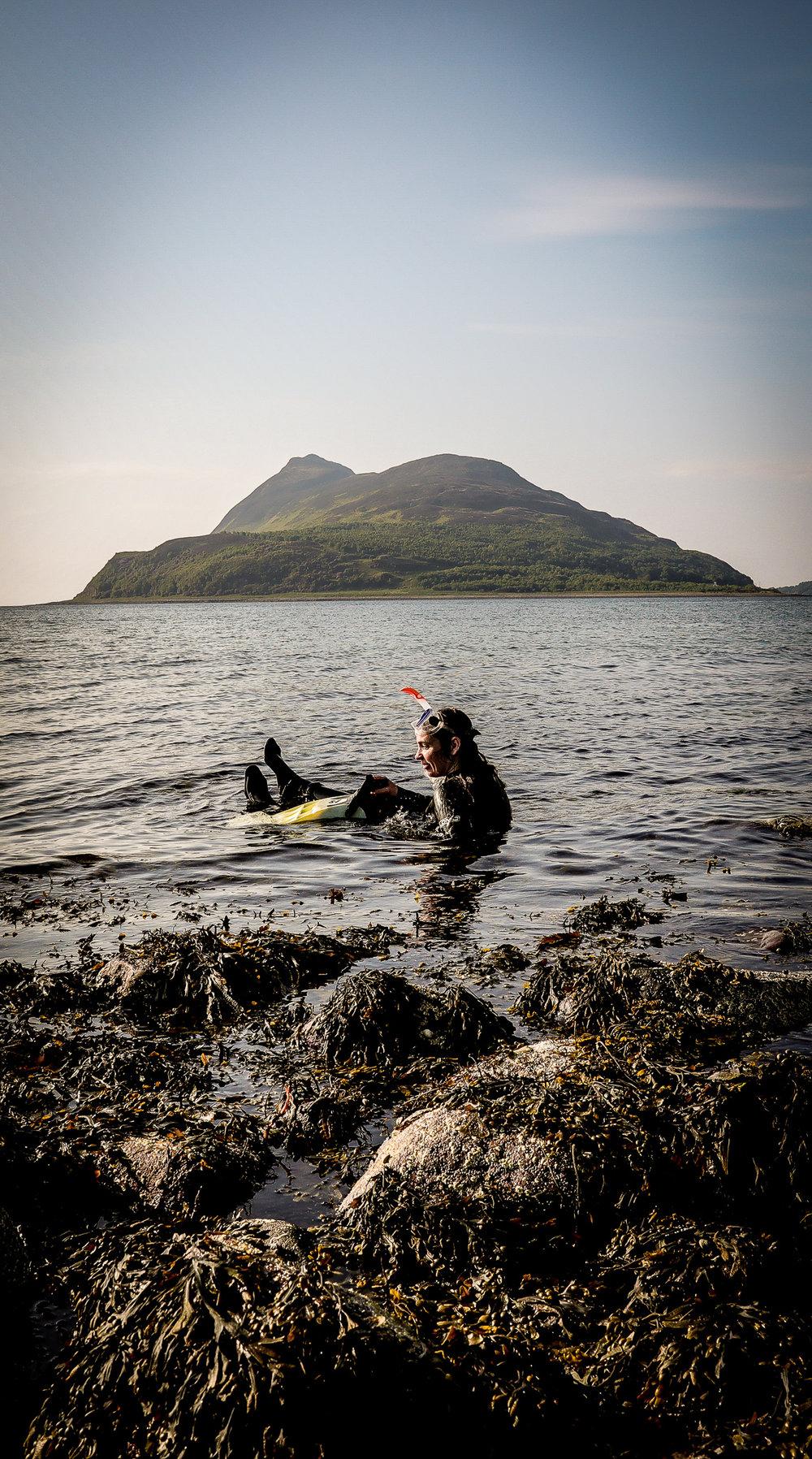 Manuela de los Rios, snorkeling in Lamlash Bay, Isle of Arran, Scotland