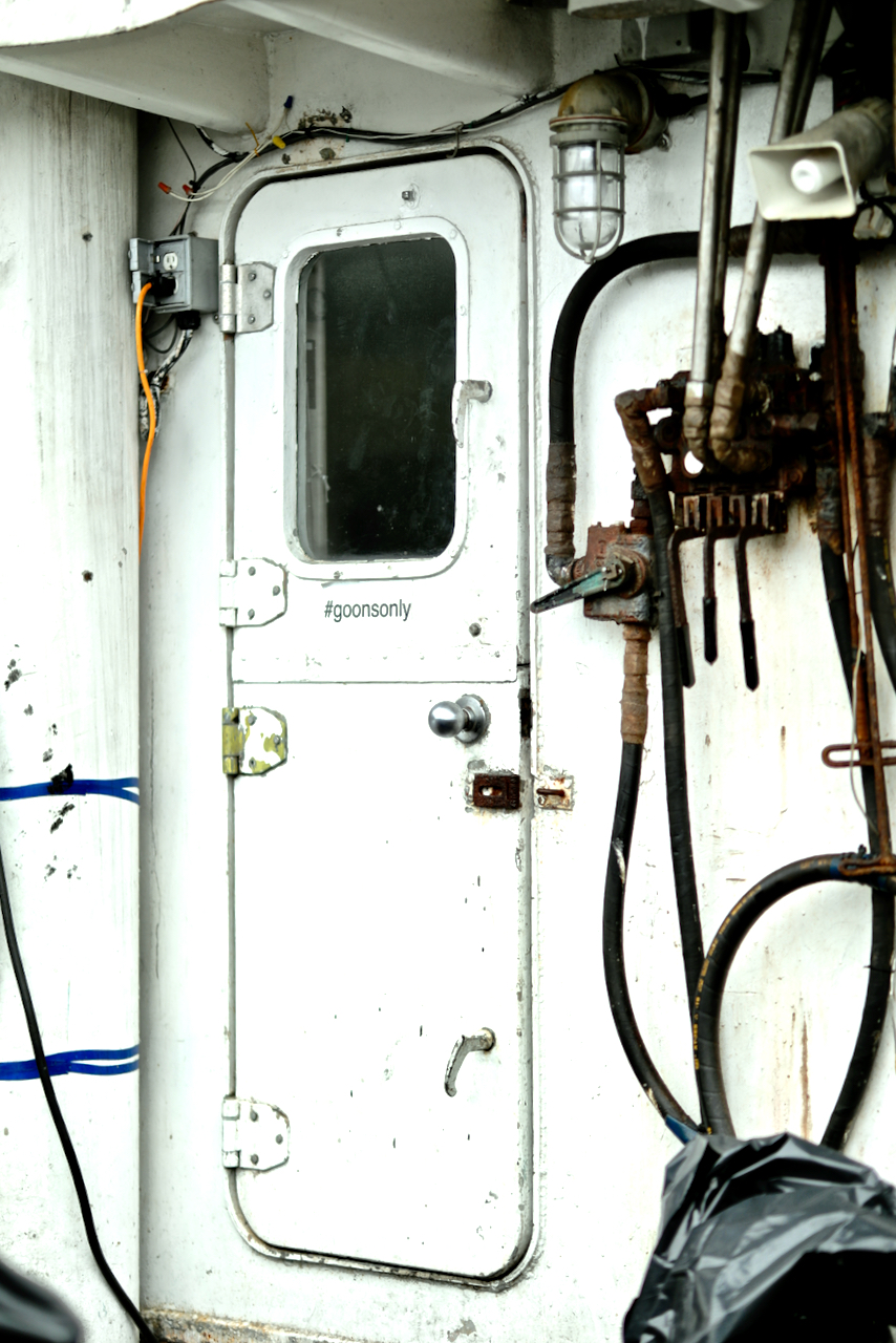 Door on commercial fishing vessel, Prince Rupert, BC
