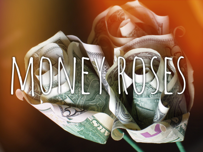 Origami dollar bill roses