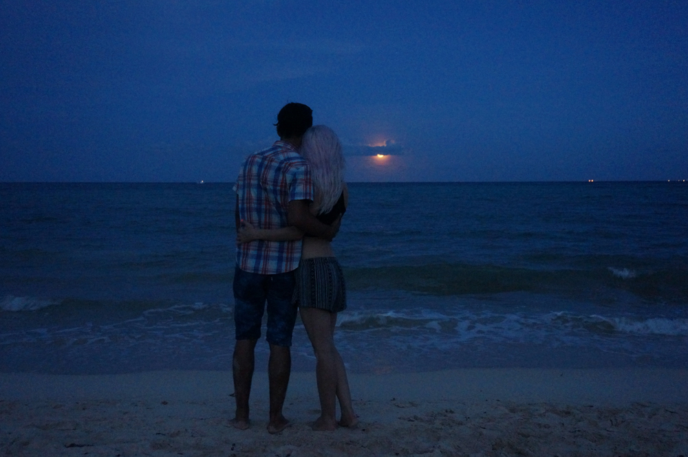 Ben and Holly watching the moonrise
