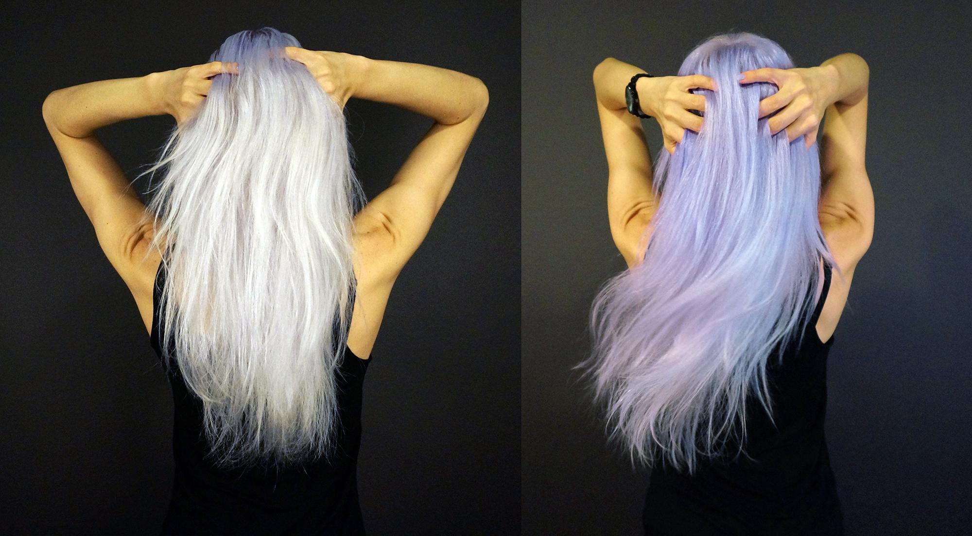 dye platinum hair lavender