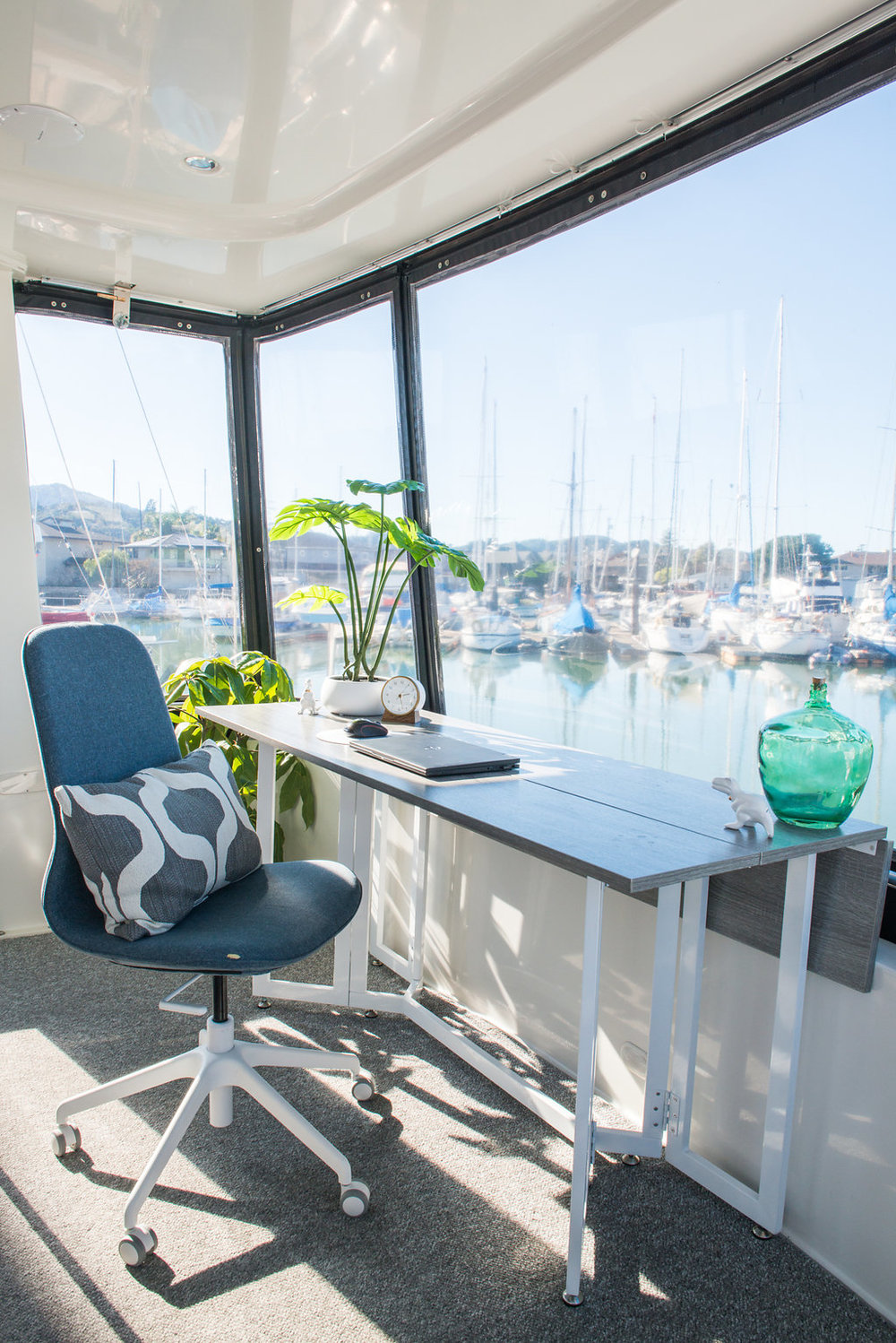 Brian's office definitely has the best view. His desk also turns into our dining room table!
