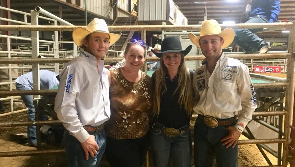Super Rodeo Mom Jennifer Kimzey with Trey, Dusta, and Sage