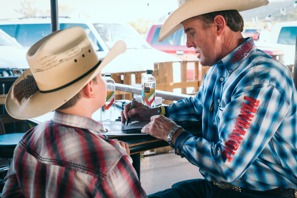 Hedeman with fans at the Coyote Store in Gail, Texas