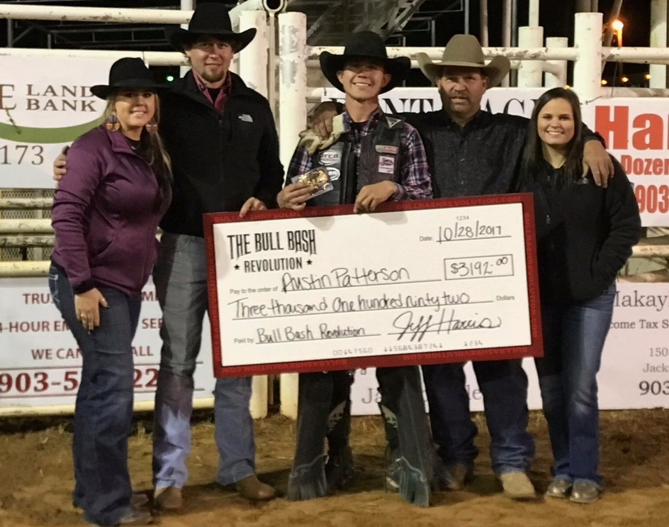 Producers of annual Bull Bash -  Haley and Brian Beasley, 2017 Champion Austin Patterson, Jeff Harris and daughter Lacee Harris.