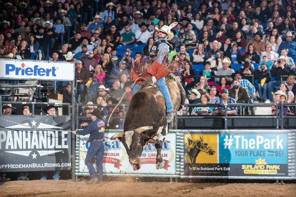 World Champion Bull Rider JW Harris attempts 487 Jake Brake, Rafter J Ranch