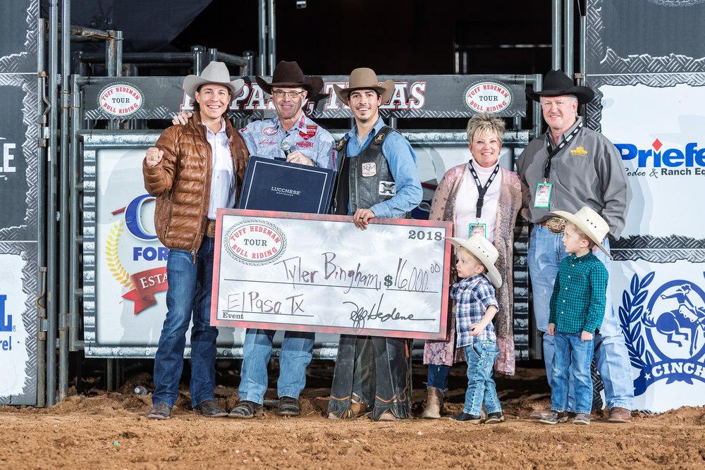 Tyler Bingham wins the Casa Ford Tuff Hedeman Bull Riding, El Paso, Texas