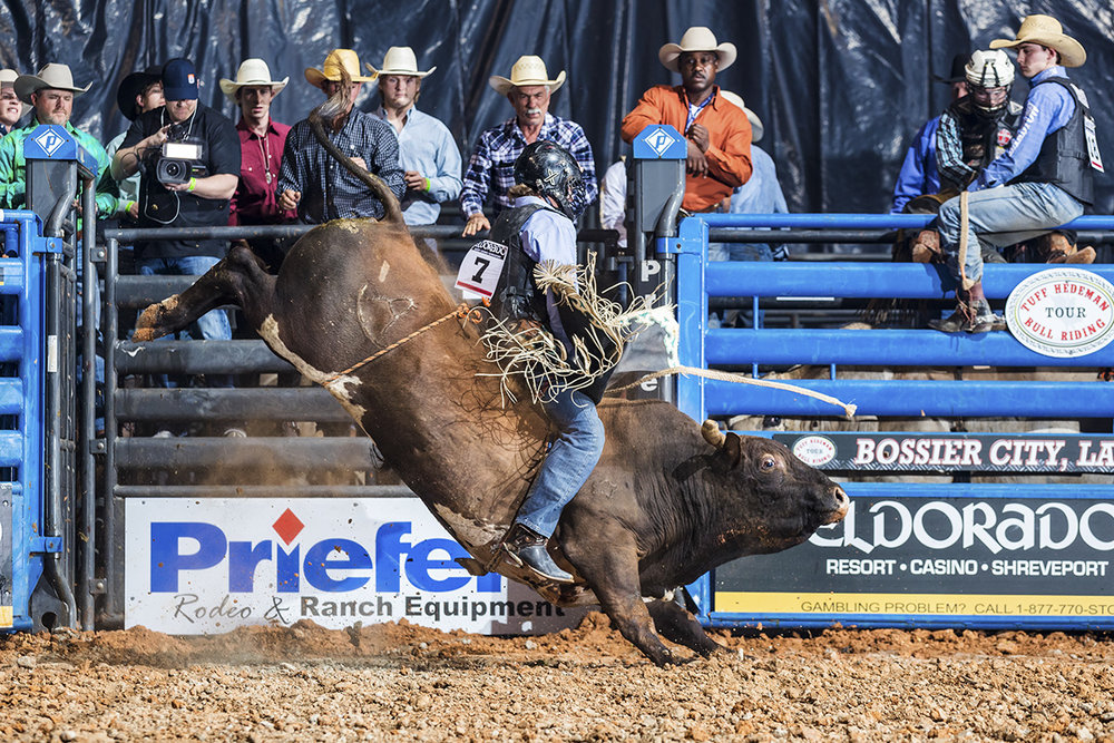 Stepheville's Tyler Taylor on Mike Rawson's 9100 Kojack, both headed to the Bull Bash this weekend.