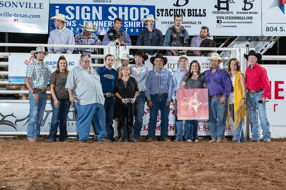 Celebrating the life and legend of Nicky Wheeler, an intermission tribute by Terry Holland and buckle presentation to Beverly Wheeler.  Brian and Haley Beasley, Terry Williams, Cole Wheeler, Tuff Hedeman, Mike Rawson, Blake Wheeler, Lacee, Jeff, and Susan Harris, and Terry Holland.