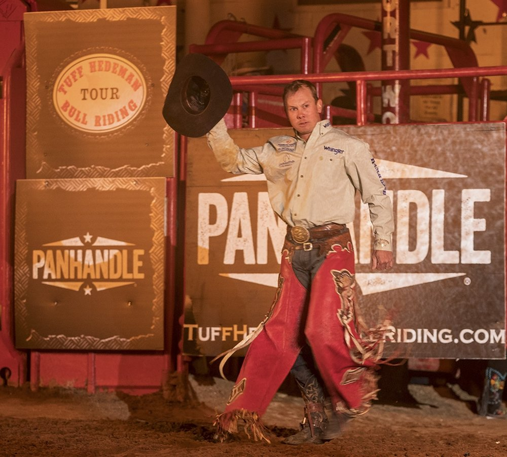 Trey Benton III, the only bull rider in history to win the Tuff Hedeman Fort Worth Challenge after competing their as a youth in the intermission steer riding competition.