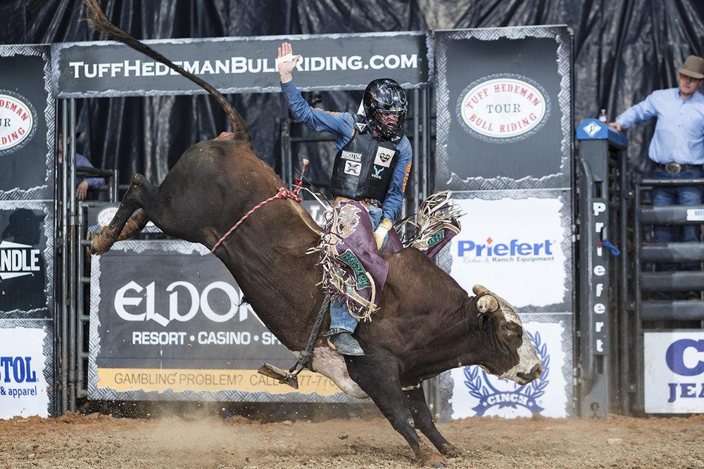 Campbell at the 2018 Eldorado Resort Casino Shreveport Tuff Hedeman Bull Riding