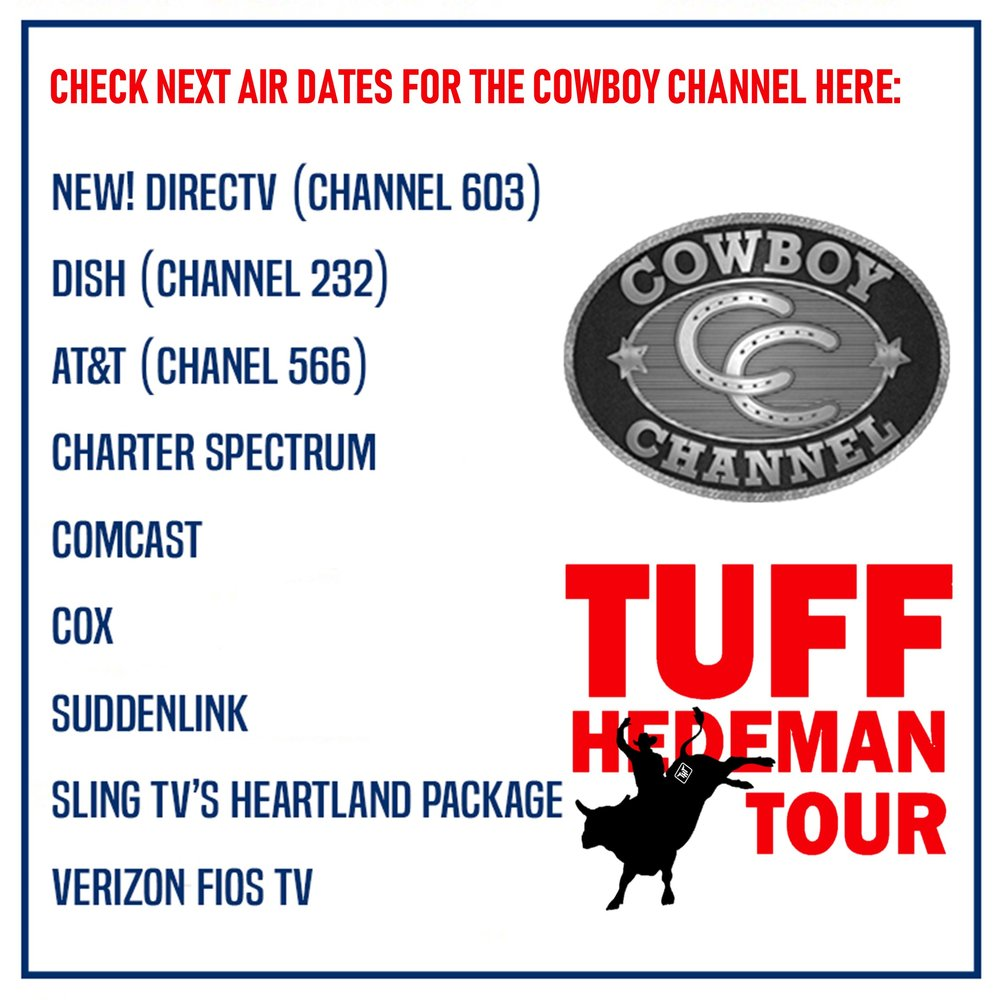 tv schedule — tuff hedeman bull riding