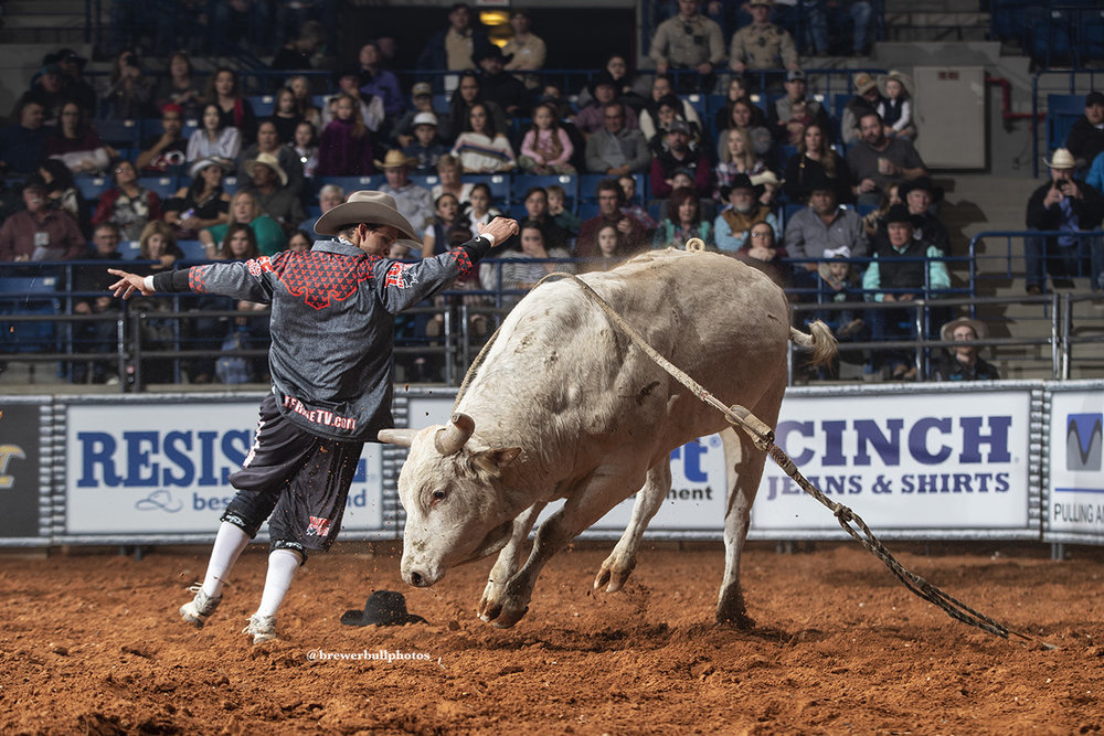 Bullfighters Only Champions Bryce Redo and Beau Schueth provide cowboy protection as the Tuff Hedeman Bullfighers in Bossier.